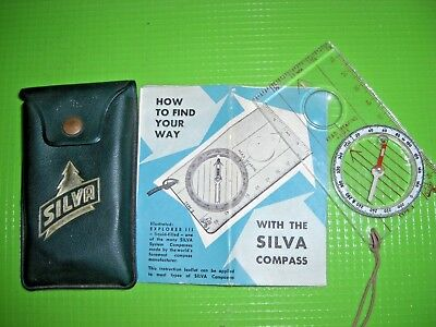 Vintage! Navy/army Silva Compass In Pouch