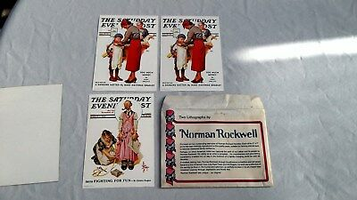 Vintage 3 Lithographs by Norman Rockwell 5x7 (2) Hanging Matter (1) Fighting