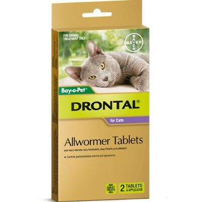 Drontal Cat Allwormer Tablets with Applicator 2 tablets Cat Cats Pet Pets