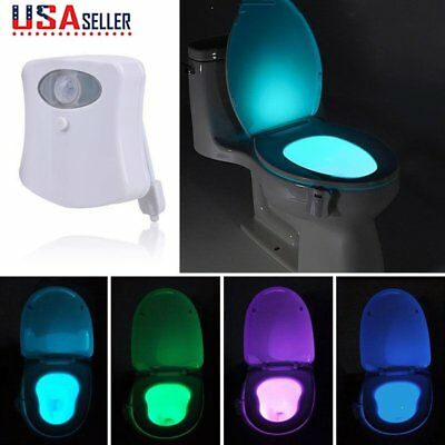 8 Colors LED Toilet Bathroom Night Light Motion Activated Seat Sensor Lamp New