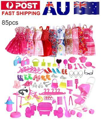 85 Item For Barbie Doll Dresses, Shoes,jewellery Outfits Clothes Set Accessories