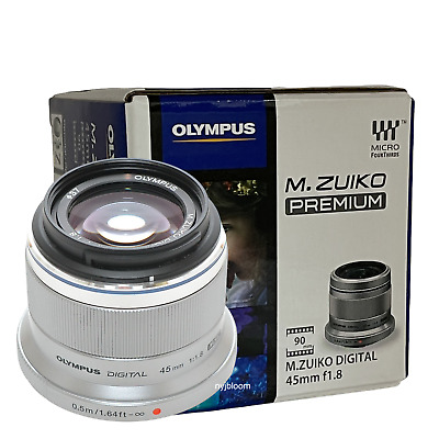 New OLYMPUS M. Zuiko Digital ED 45mm f/1.8 Lens - Silver - Micro Four Thirds