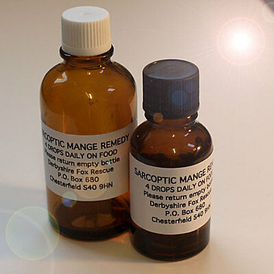 **NEW LARGER 50ml SARCOPTIC MANGE TREATMENT Dogs, Horses, Pets, Foxes & Wildlife