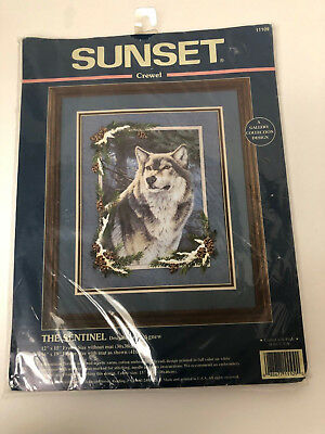 "Sunset Wolf Sunset Crewel Wolf ""The Sentinel Wolf"" Al Agnew Kit 11109 Embroidery"