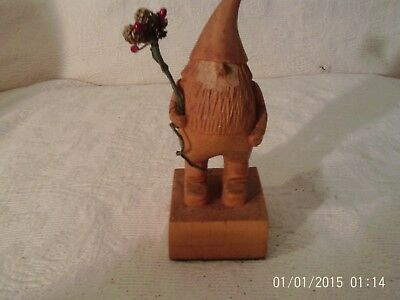 Signed Hand Carved Wooden Man Figurine Elf Gnome With Large Pointed Hat  B-Cones