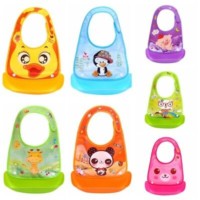 1pc Waterproof Comfortable Baby Bib Easily Wipes Clean Silicone Feeding Bibs US