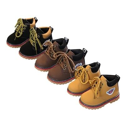 Toddler Baby Kid Winter Warm Army Martin-Boots Boy Girl Leather Sneakers Shoes