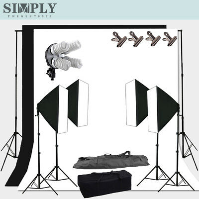 4Head Softbox+Backdrop Background Continuous Lighting Soft Box Light Kit Photo