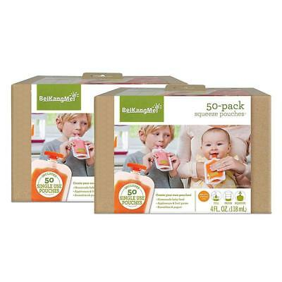 Infantino Squeeze Reusable Food Pouches Kids Squeeze Station 4-Fl Oz,50 Count