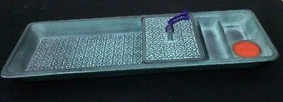 """Vintage Antique Japanese 9 1/2"""" by 3 1/2"""" Cast Iron Metal Watercolor Brush Tray"""