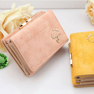 Cute Women Wallet Coin Bag Leather Ladies Simple Trifold Small Handbag Purse