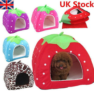 Pet Dog Cat Strawberry Bed House Warm Soft Mat  Kennel Small Pet Foldable Tent
