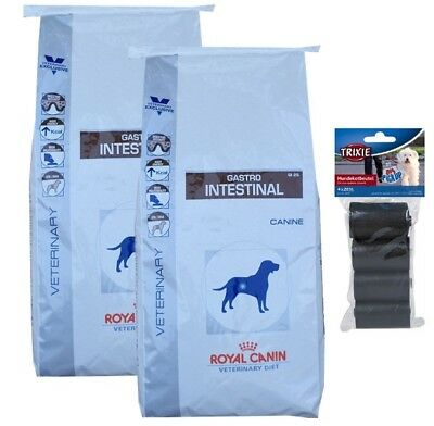 2x14kg Royal Canin Gastro Intestinal GI 25 Veterinary Diet + 80 Stk. Kotbeutel