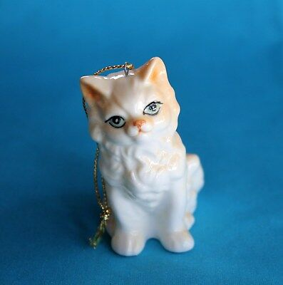 White Yellow Cat Bone China Christmas Ornament Vintage Kitty Kitten Holidays