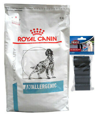 8kg Royal Canin Veterinary Diet Anallergenic AN 18  + 80 Stk. Kotbeutel