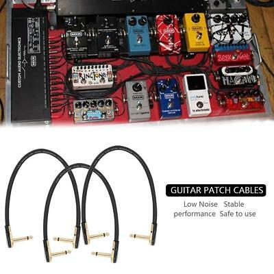"""3 x Elastic Guitar Effect Pedal Patch Cable Cord 1/4"""" Flat Right Angle Plug 30cm"""