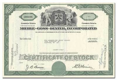 Miehle-Goss-Dexter, Incorporated Stock Certificate