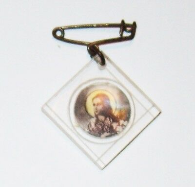 Vtg Rare Saint Theresa Diaper Lapel Pin Medal Safety Clear Lucite Lily Catholic