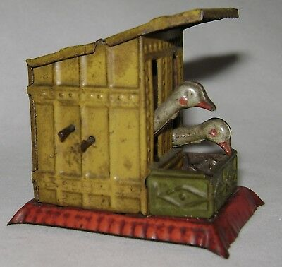 Antique German Tin Penny Toy Pecking Geese/Chickens in Coop