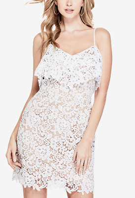 5f56a273 New GUESS Women's Nevaeh Popover Neck Lace Dress Above-knee White Size Small