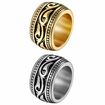Heavy Wide Vintage Stainless Steel Ring Black Silver Celtic Wedding Band for Men
