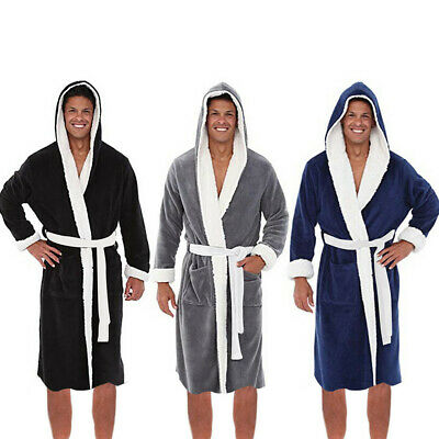 Men's Winter Long Sleeved Plush Lengthened Shawl Bathrobe Home Robe Coat Clothes
