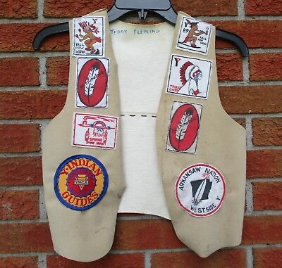 Y-Indian Guides Ymca Vest With Patches Arkansaw Nation Meshenuhwa Fall Pow Wow +