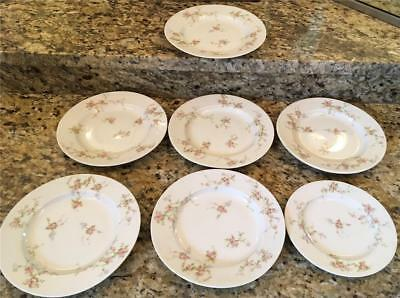 6 Vintage Theodore Haviland Limoges Salad & 1 Bread Plates France, Pink Flower