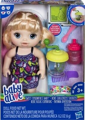Baby Alive Sweet Spoonfuls Blonde Baby Doll Girl, Brand New In Box Great Present
