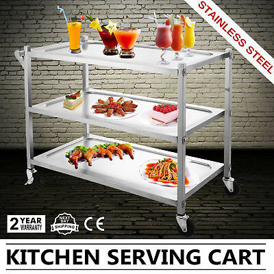 3 Tier Stainless Steel Catering Cart Food Catering Restaurant Dining 330Lbs