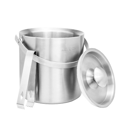 2L Ice Bucket with Tongs & Lid | Insulated Double Walled Steel Cooler | M&W
