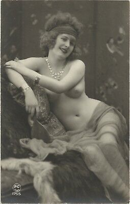 Original old French real photo postcard Art Deco nude study 1920s RPPC pc #189