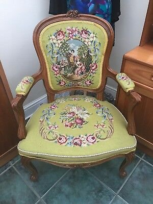 Vintage Antique French Louis Style Carved Green Needlepoint Armchair