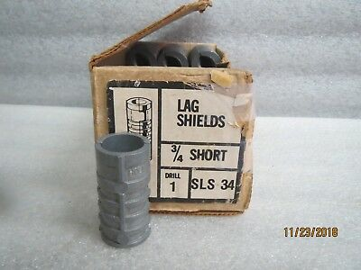 "Lag Shields 3/4"" x 2"" short-Threaded-Metal-Anchors-New Lot of 22"