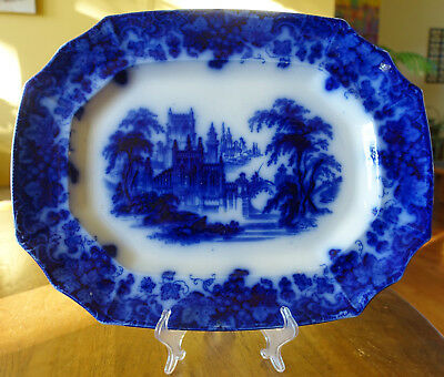 """Lovely Antique Flow Blue Ironstone Platter Staffordshire Furnival """"Gothic"""" 16"""""""