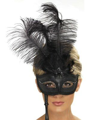 Black Baroque Fantasy Eyemask Ladies Fancy Dress Costume Party Mask Accessory