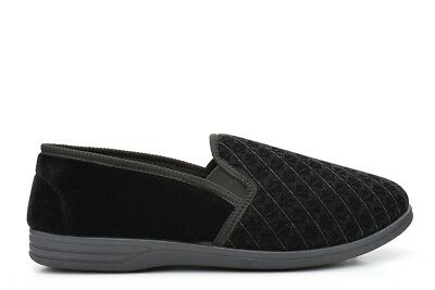 Mens Extra Large Slippers Twin Gusset Slip On Slippers Black Size 14/15/16