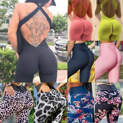 Women High Waist YOGA Pants Sports Jumpsuit Leggings Push Up Fitness Trousers G1