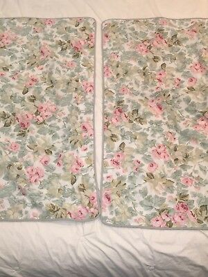 Laura Ashley Pair King Pillow Shams Cottage Rose Shabby Chic Mint Green
