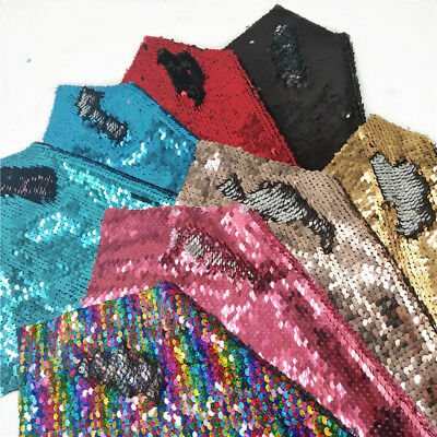 Reversible Mermaid Sequin Fabric Shiny Scale Dress Bows Craft DIY Party Decor