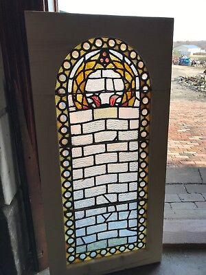 SG 2620 antique Stainglass arch top window jeweled border 18.25 x 37.5