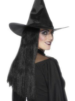 "Adult Long Witch Wig 24"" Black Ladies Halloween Fancy Dress Costume Accessory"