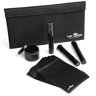 Smell Proof Bag Bag Bundle For Weed With Grinder, Bags, And Doob Tubes