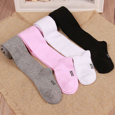 Girls Knitted Cotton Plain Tights Baby Newborn Toddler Kids 0-6 Years VERY SOFT