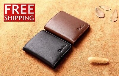 Mens Genuine Leather Bifold Wallets Credit Card Id Holder Money Small Purse Bag