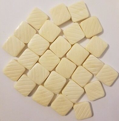25 pcs Genuine Natural Bone Hand-Carved Square Diamond Tile Jewelry Beads 20mm