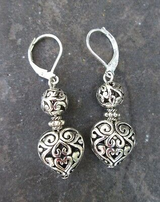 Silver Filigree Puffed Heart Earrings with Sterling Silver Leverbacks