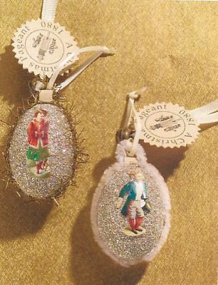 Wendy Addison ~SET of 2~ Dresden-Style  ~SILVER GLITTER EGG ORNAMENTS~ NWT!