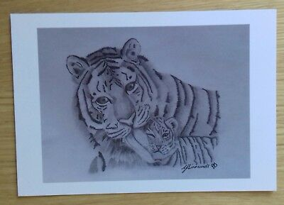 TIGER & CUB love gift PICTURE A5 print of Original Art Drawing Gift WILD ANIMAL