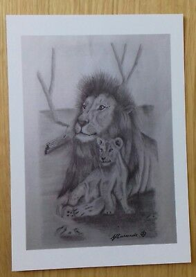 LION & CUB love gift PICTURE A5 print of Original Art Drawing WILD ANIMAL
